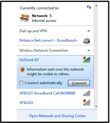 set up windows for aplikasi AirDroid AP
